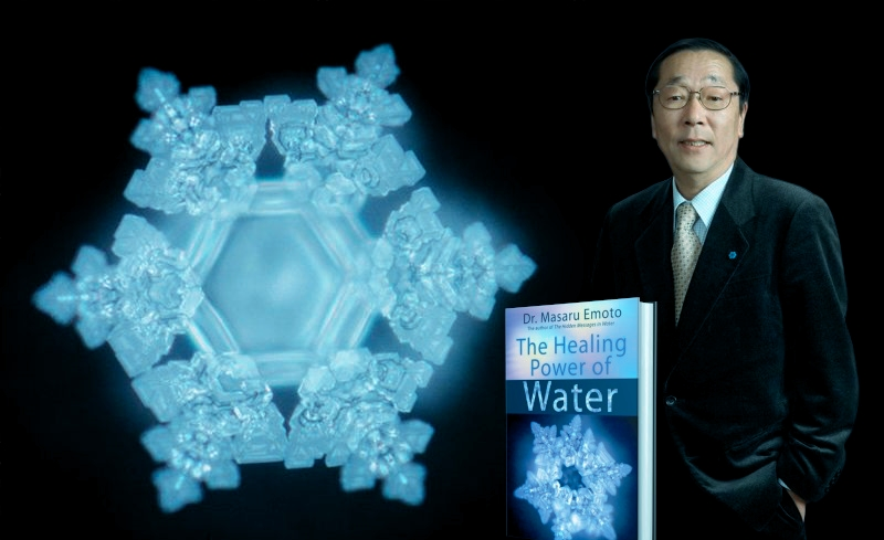 Masaru Emoto and an image of a water crystal  showing off its beautiful hexagon structure.